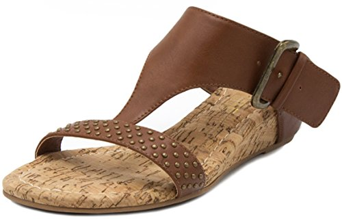 Rampage Women's Sheryl T-Bar Cork Wedge Dress Sandal with Studs and Buckle Closure