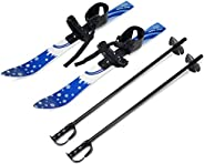 Odoland Kid's Beginner Snow Skis and Poles, Low-Resistant Ski Boards for Age 4 and Under, Snowf
