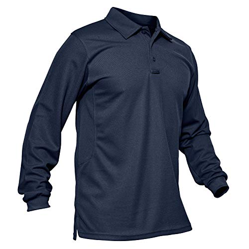 MAGCOMSEN Military Long Sleeve T Shirts for Men Work Polo Performance Quick Dry Jersey Polo Shirt Navy Blue
