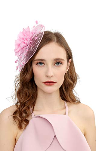 Fascinators Hats for Womens 50s Headwear with Veil Flower Cocktail Wedding Tea Party Church Derby Hat(1A-pink)]()