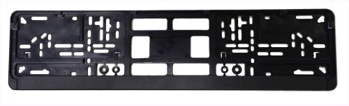 (Standard Black Euro License Plate Holder - Universal Mounting Frame/Bracket)