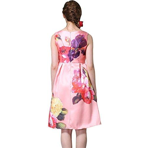 wulmingwu Elegant Women Sleeveless Flower Printed Vintage Cocktail Flare Dresses (70s Dress Up Ideas)
