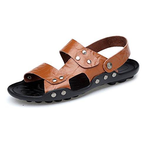 Dimensione vera schienale Pantofole Scarpe pelle 2018 in da 44 Sandali spiaggia shoes uomo antiscivolo regolabili con suola Marrone Casual EU senza Mens Color da ZfEfUwnY1