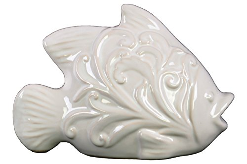 Urban Trends Ceramic Fish Figurine with Mouth Open and Embossed Swirl Design, Gloss White