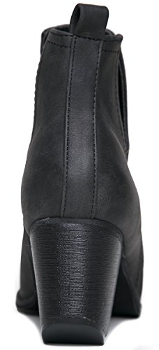 MI IM Western Slip auf V-Cut Out Stacked Heel Bootie - Seitlicher Schnitt aus Metall mit Knöchelzug Cowboy Women's Boot Schwarz Distressed
