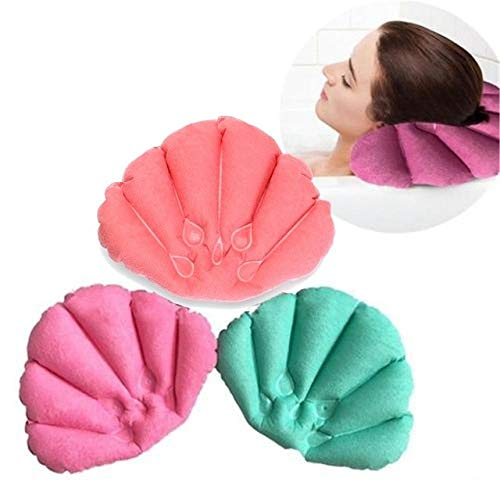 Almohada inflable para baño con forma de concha para el cuello ...