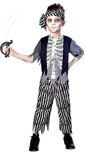 Boys Ghostly Scary Zombie Pirate Swashbuckler Halloween Fancy Dress Costume Outfit 5-12 Years (11-12 -