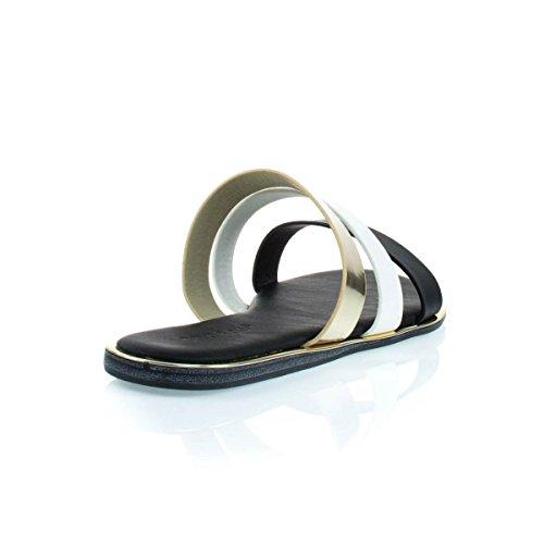 Komfortabel Polstret Flat Gladiator Sandal W Multi Farget Blokk Sorte Gull Hvit