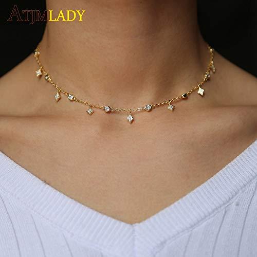 Davitu Designs Cubic Zirconia Crystal Gold White Rose Gold Silver Color Dangle Star cz Drop Choker Necklaces Jewellery for Women - (Metal Color: Rose Gold Color, Length: 40cm) ()