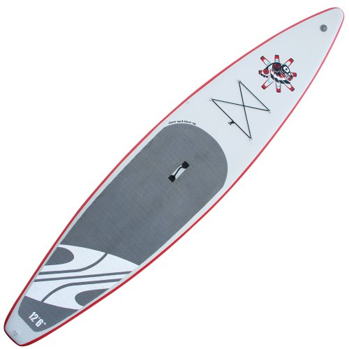 Boardworks Inflatable Raven Grey/Red/White Paddle Board Equipment, 12'6'' by Boardworks