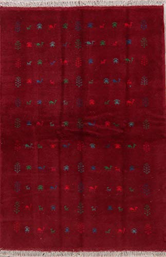 New Hand-Knotted Wool Persian Gabbeh Carpet 4X7 Modern Oriental Area Rug Red