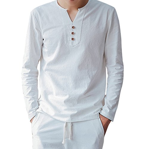 Stunner Men's Spring Solid Long Sleeve Cotton Linen T-shirts Pants Suit CN White M