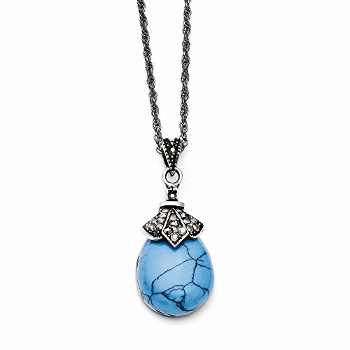 Stainless Steel Oval Polished Fancy Lobster Closure Simulated Turquoise Crystal Antiqued Teardrop Necklace - 18 Inch