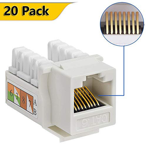 Keystone Jack RJ45 Ethernet Module Cat6 Network Coupler Punch Down Adapter Compatible Cat 5e/Cat 5/Cat 6 Connector(20 Pack White)