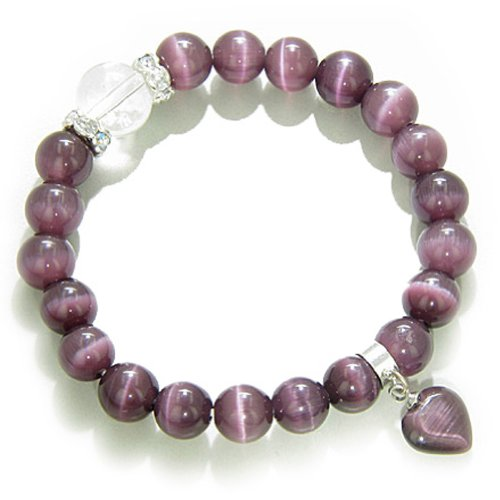 St7 Eye - Cute Crystals and Purple Simulated Cats Eye Heart Good Luck Talisman Bracelet