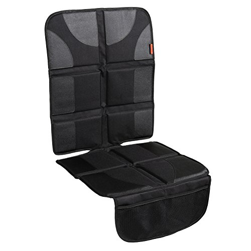 Car Seat Protector with Thickest Padding - Featuring XL Size (Best Coverage Available), Durable, Waterproof 600D Fabric, PVC Leather Reinforced Corners & 2 Large Pockets for Handy Storage (Gear Baby Seat)