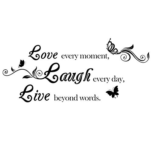 AUHOKY Love Every Moment Laugh Every Day Live Beyond Words Wall Decal Sticker Quotes, Removable DIY Saying Wallpaper Home Decor for Living Room Bedroom - Butterfly Mural Art Words (31×15inch, Black)