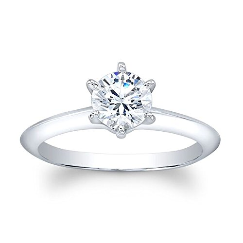 Ladies 14k white gold classic 6 prong round brilliant solitaire engagement ring with 1 carat natural Round Brilliant White Sapphire Center