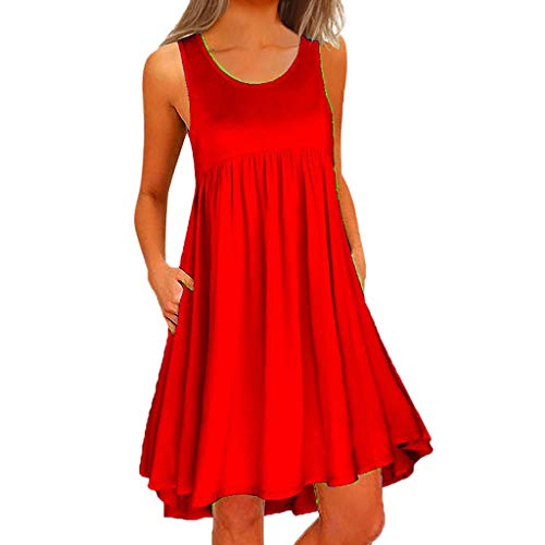 (Sunmoot Sleeveless Swing T-Shirt Dresses for Womens Plus Size Summer Cami Pockets Casual Loose Above Knee Dress Red)