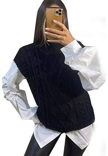 Vrouwen Kabel Gebreide Vest Dames Mouwloos Trui Plain Hoge Hals Gebreide Tank Top