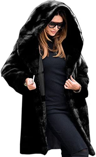 Roiii Womens Winter Luxury Outerwear Long Sleeve Faux Mink Faux Fur Plus Size Hooded Coat