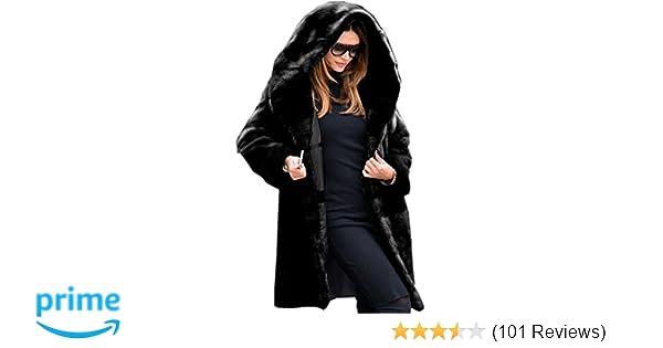 72bfb86662cf8 Aofur New Womens Thick Faux Fur Big Hooded Parka Long Overcat Peacoat  Winter Coats Jackets at Amazon Women s Clothing store
