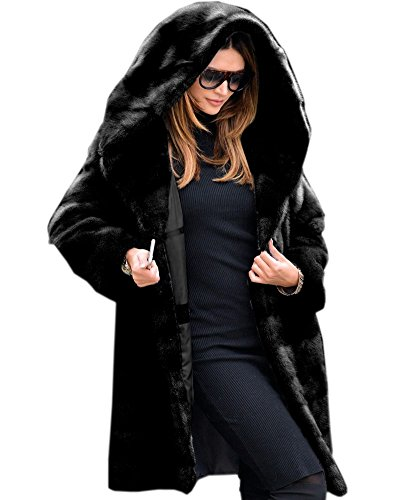 - Aofur New Womens Thick Faux Fur Big Hooded Parka Long Overcat Peacoat Winter Coats Jackets (XXX-Large, Black Faux Fur)