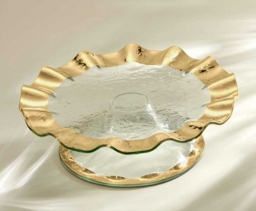 (Annieglass Glass Pedestal Cake Plate Ruffle with Gold Rim)