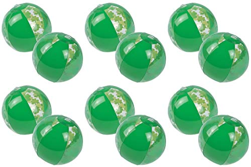 HAPPY DEALS ~ 12 St Patrick's Day Shamrock Beach Balls - Small Size