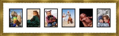 Gold Collage Picture Frame with 6 rectangle openings for 3.5 X 5 photos