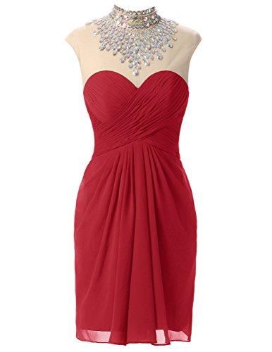 Dresstells®Vestido De Fiesta Corto Dama De Honor Madrina Rojo Oscuro