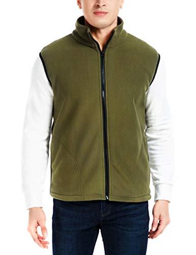 (Polar Fleece Vest Men Sleeveless Jacket Full Zip Pockets Casual Softshell Slim Fit (Army Green, L))