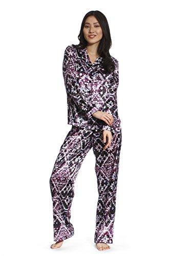 Jones New York Women's Long Sleeve & Pant Satin Pajamas (Purple, Small, Set Of 2)