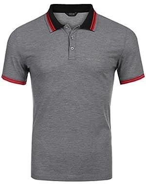 Mens Polo Shirt Fashion Slim Fit Short Sleeve Tee Shirts