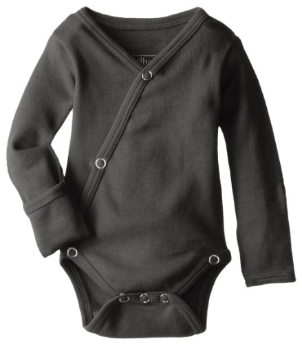 L'ovedbaby Unisex-Baby Organic Cotton Kimono Long Sleeve Bodysuit, Gray, 0/3 Months