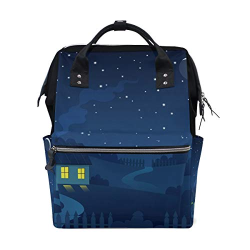 - Country Farm With House Under The Crescent Moon And Stars Lightweight, Durable Laptop Backpack Casual Daypacks Outdoor Sports Super Large Capacity School Shoulder Bag for Men Women