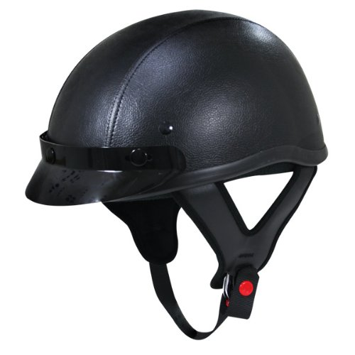 Outlaw Half Helmet - Outlaw T70 Dark Rider Black Leather Like Half Helmet with Snap Visor - X-Large