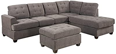 2-Piece Microsuede Modern Grey Charcoal Sectional Sofa