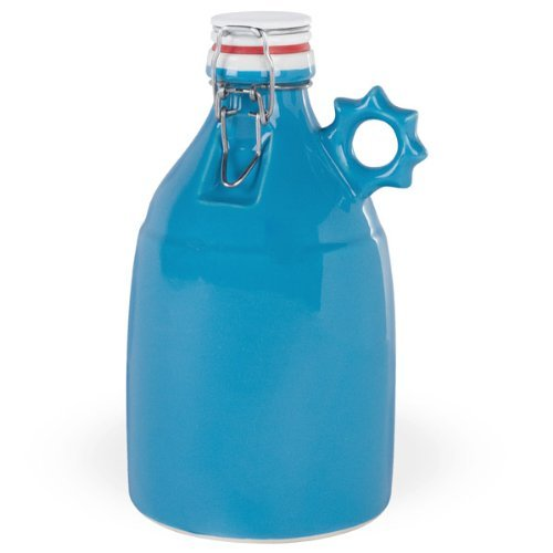 Ceramic Swing Top Growler with Sprocket Handle - Gloss Blue - 64 oz by Portland Growler Co.
