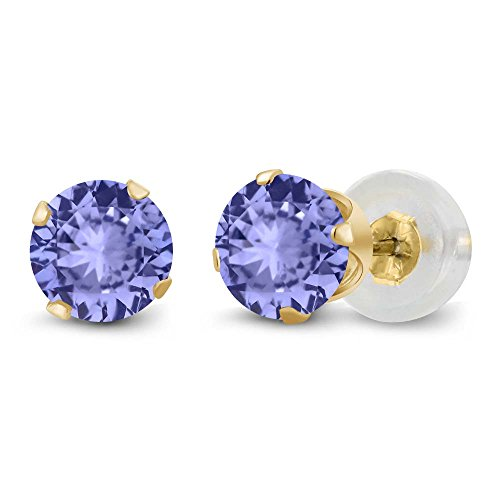 Gem Stone King 14k Yellow Gold Tanzanite Stud Earrings 1.00 cttw Round Gemstone Birthstone 5MM