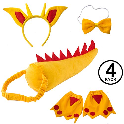 Tigerdoe Dragon Tails - Dinosaur Costume - Dino Theme Party - Dress Up - Animal Tails (Yellow and Red Dragon Accessories) ()