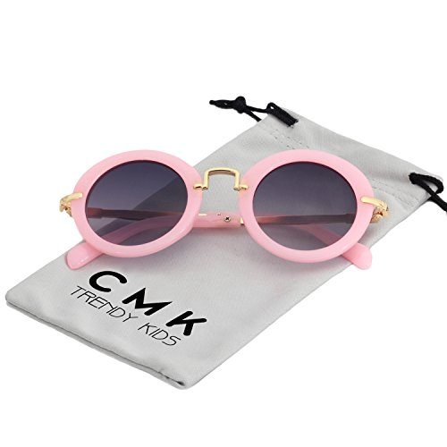 Price comparison product image CMK Trendy Kids Classic Toddler Round Sunglasses for Little Girls and Boys Metal Legs (CMK180201_PK)