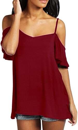 ZANZEA Women's Low Cut Off Shoulder Flounce Sleeve Sling Swing Top Blouse T Shirt