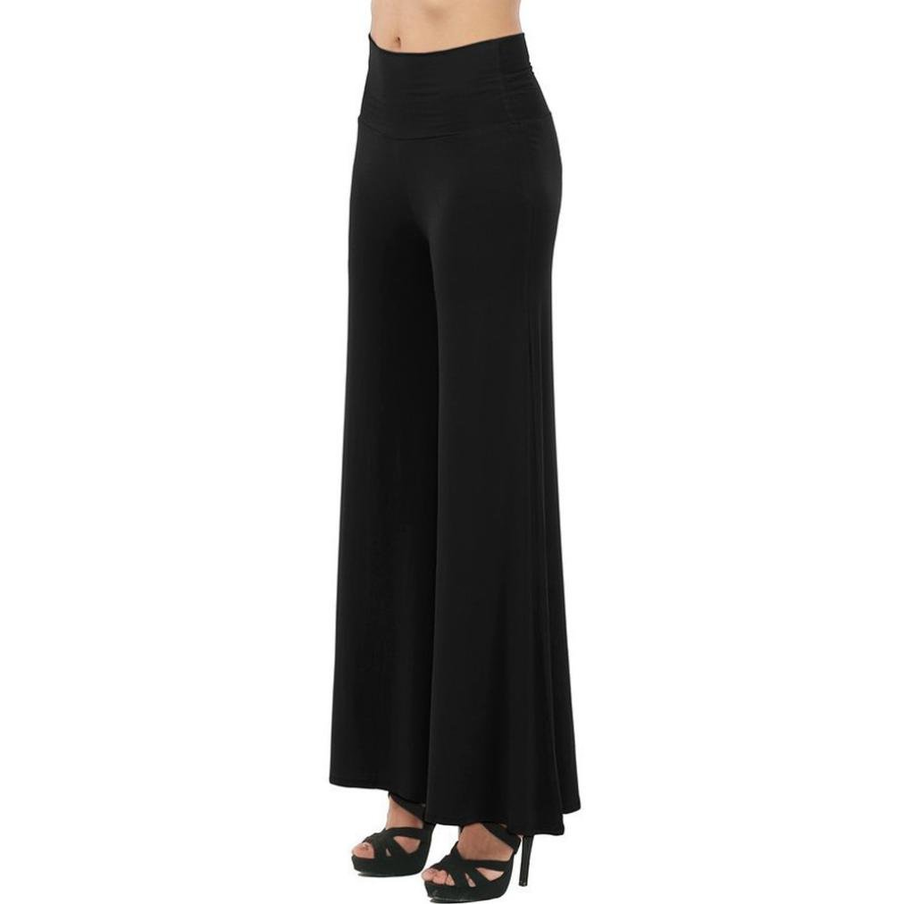Casual High Fold Over Waist Palazzo Pants Yoga Pants Keepwin Women Wide Leg Pants