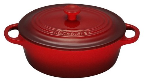 Le Creuset Stoneware 12-Ounce Mini Oval Cocotte, Cerise (Cherry Red)