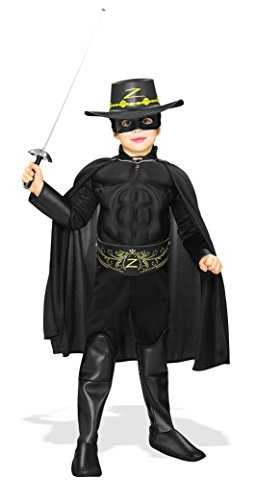 Kids Zorro Costumes (Rubie's Costume Zorro Deluxe Muscle Chest Child Costume, Small)