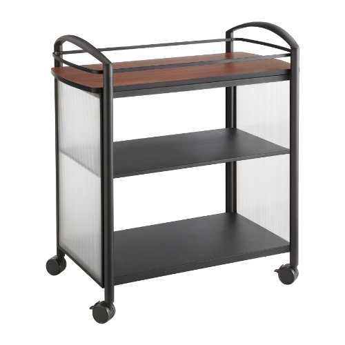 L Impromptu Beverage Hospitality Cart, Cherry Top/Black Frame (Mobile Beverage Cart)