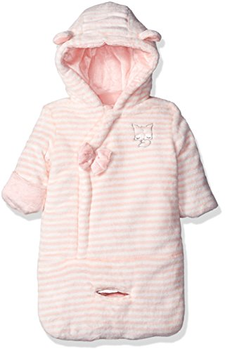 Jessica Simpson Baby Girls' Striped Polyfilled Velour Bunting, Impatiens Pink, One Size -