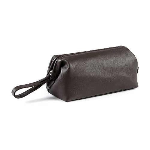 Leatherology Framed Toiletry Bag - Full Grain Leather - Chocolate Brown (brown)