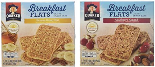 Quaker, Breakfast Flats, 5 Count (1.41oz Each), 7oz Box (Pack of 4) (Choose Flavor) (Cranberry Almond)